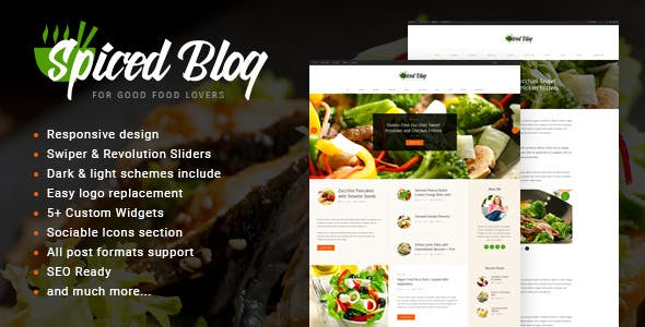 Spiced Blog - A Crisp Recipes & Food Personal Blog WordPress Theme