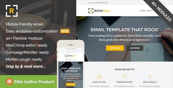 Rockmail, Multipurpose Email + Builder Access - Email Templates Marketing