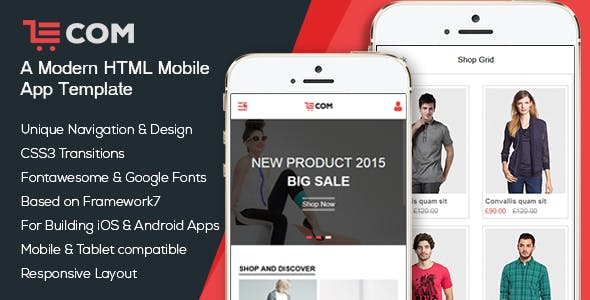 eCom - a Modern Mobile & App HTML Template