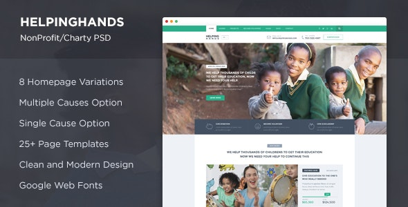 HelpingHands - NonProfit/Charity PSD - Charity Nonprofit