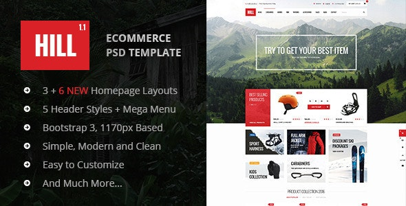 HILL - Premium Bootstrap eCommerce PSD Template - Shopping Retail