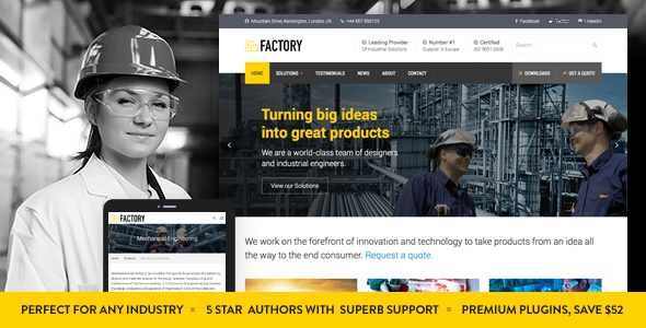 Factory - Industrial Business WordPress Theme - Business Corporate