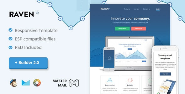 Raven - Modern Email Template + Builder 2.0 - Email Templates Marketing