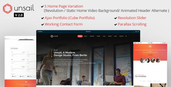 Unsail : One Page Parallax Html Template
