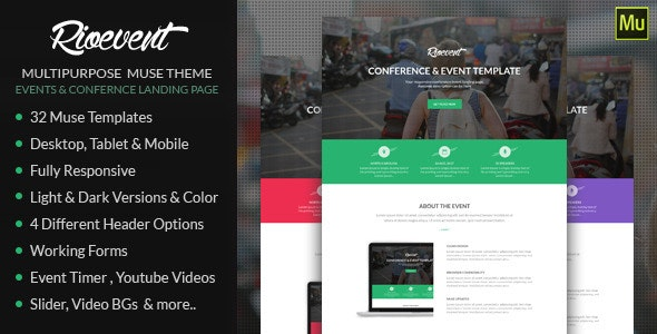 Rio Event - Muse Landing Page - Landing Muse Templates