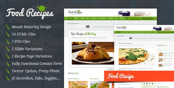 Food Recipes - HTML Template - Food Retail