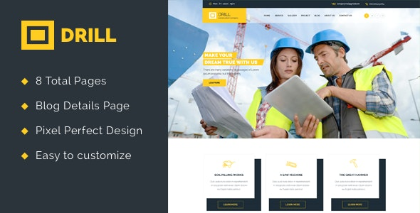 Drill Construction Html Template - Business Corporate