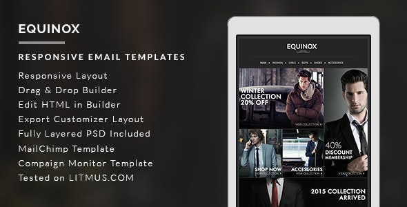 Equinox - E-Commerce Newsletter + Builder Access - Email Templates Marketing