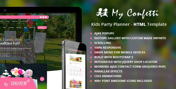 My Confetti - Kids Party Planner HTML Template - Events Entertainment
