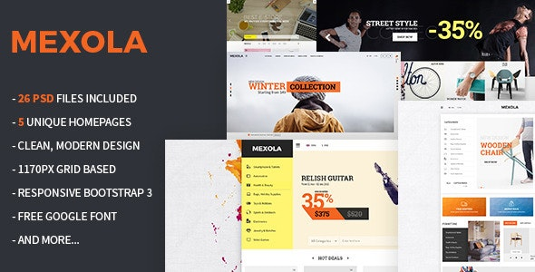 Mexola - Multipurpose eCommerce PSD Template - Retail PSD Templates