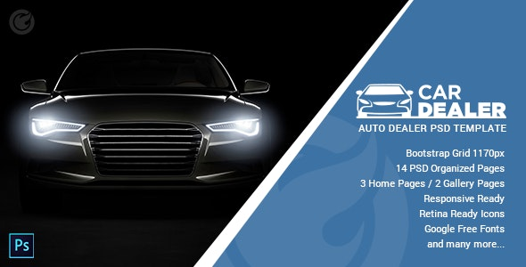 Car Dealer - Auto Dealing PSD Template - Retail PSD Templates