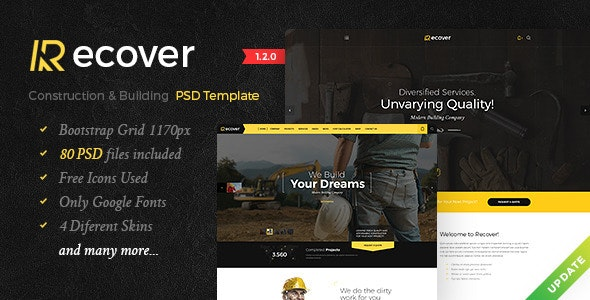 Recover - Construction & Building PSD Template - Corporate Photoshop