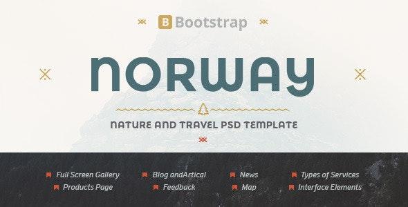 NorwayTheme - Nature Travel PSD Template - Travel Retail