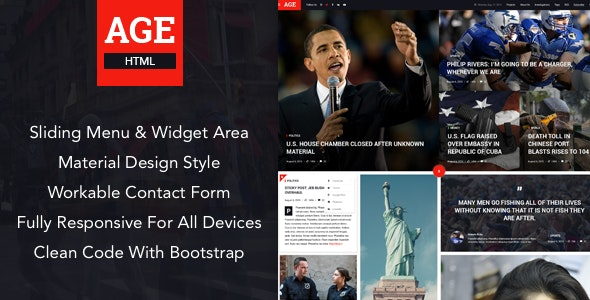 AGE - Material Design News/Magazine HTML Template by themexy