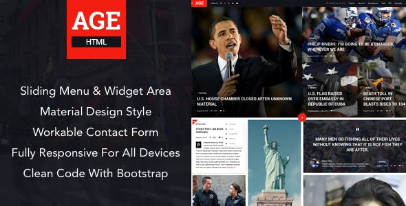 AGE - Material Design News/Magazine HTML Template