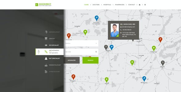 DocDirect - Directory PSD Template for Healthcare Profession