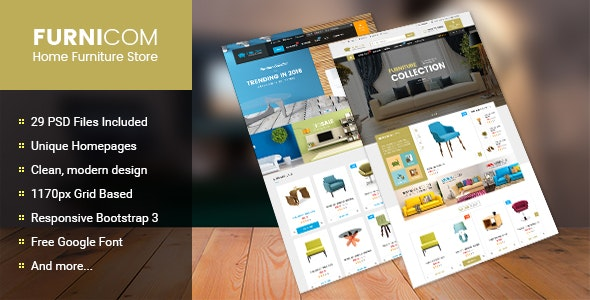 Furnicom - Multipurpose eCommerce PSD Template - Retail Photoshop