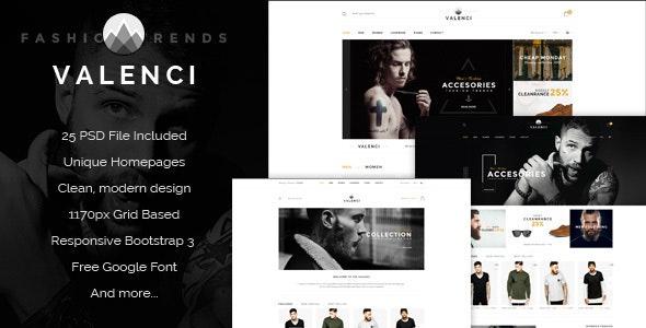 Valenci - Multipurpose eCommerce PSD Template - Retail PSD Templates
