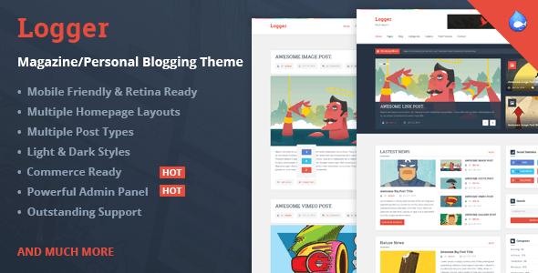 Logger - Magazine/Personal Blogging Drupal 7.6 Theme