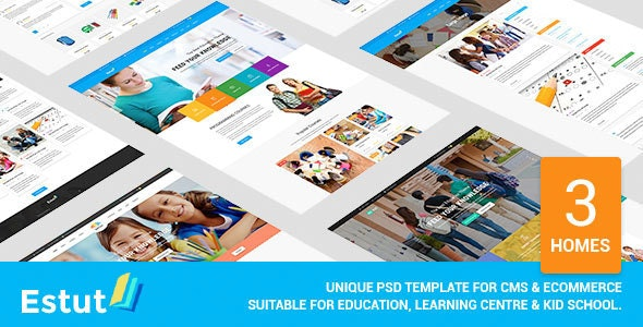 Estut - Material Design Education, Learning Centre & Kid School PSD Template - Nonprofit Photoshop