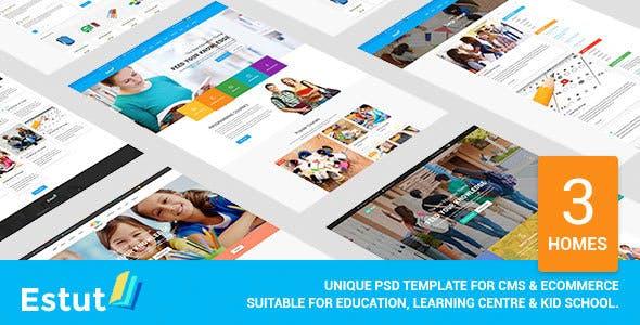 Estut - Material Design Education, Learning Centre & Kid School PSD Template