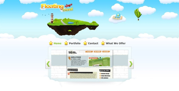 Floating Island Drawn Style XHTML Template - Creative Site Templates