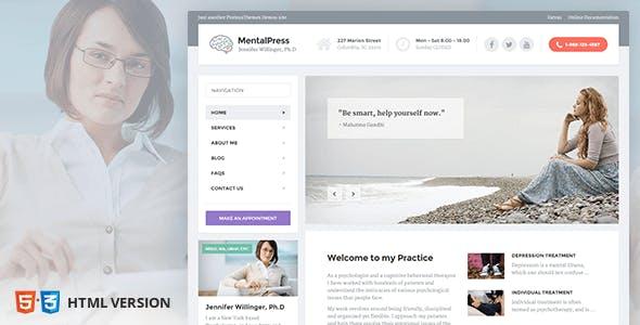 Psychology, Counseling & Medical Website Template — MentalPress