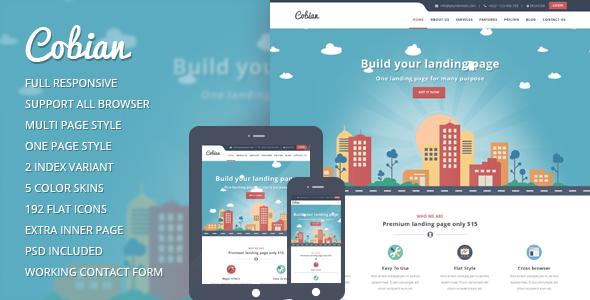 Cobian - Responsive  WordPress Flat Landing Page Theme - Marketing Corporate