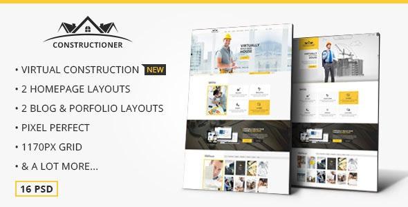 Constructioner - Modern Construction PSD Template - Business Corporate