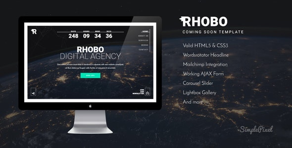 Rhobo - Creative Coming Soon Template - Under Construction Specialty Pages