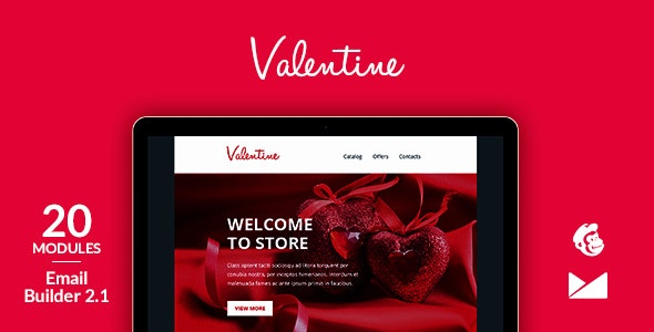 Valentine Email Template + Online Emailbuilder 2.1 - Catalogs Email Templates