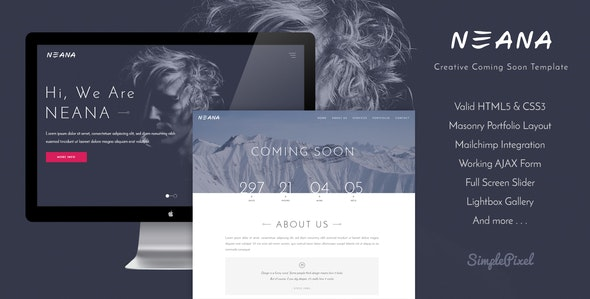 Neana - Creative Coming Soon Template - Under Construction Specialty Pages