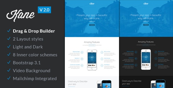 Kane - Responsive App Landing Page + Builder - Apps Technology