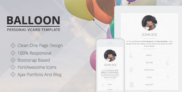 Balloon - Personal vCard Template - Virtual Business Card Personal