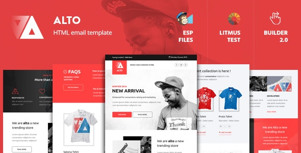 Alto - Modern Email Template + Builder 2.0 - Newsletters Email Templates