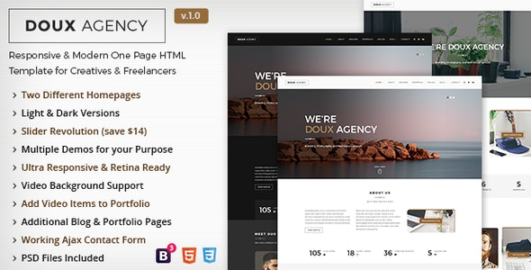 Doux - Creative One Page HTML Template - Creative Site Templates