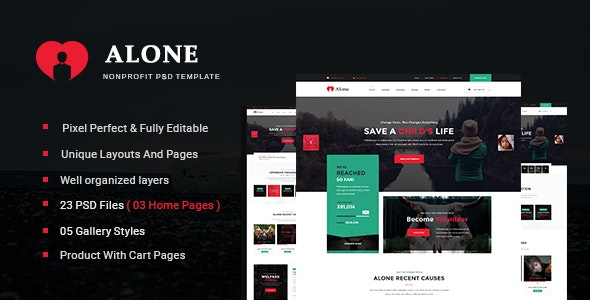 Alone - Multipurpose Non-profit PSD Template - Nonprofit Photoshop