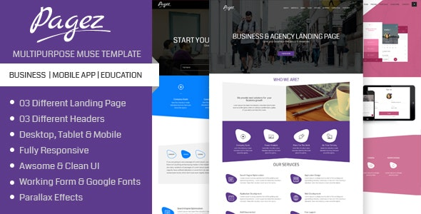 Creative Pagez - Multipurpose One Page Muse Template - Creative Muse Templates
