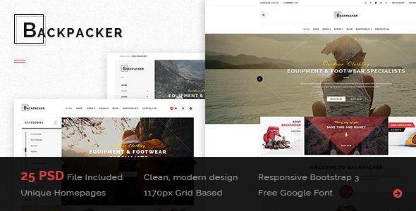 BackPacker - Multipurpose eCommerce PSD Template - Retail PSD Templates