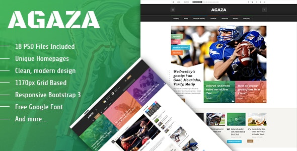 Agaza - News & Magazine PSD Template - Creative PSD Templates