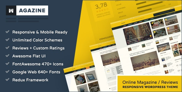 Wagazine - Magazine & Reviews Responsive WordPress Theme - Blog / Magazine WordPress