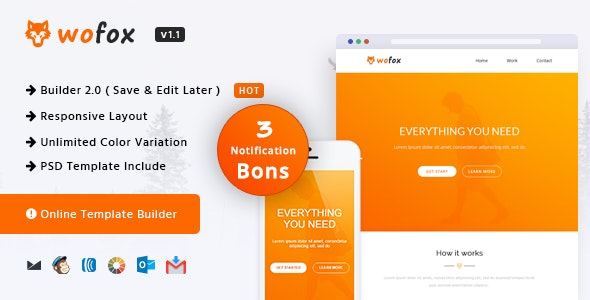 Wofox - Responsive Email Template + Online Builder - Newsletters Email Templates