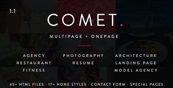 Comet - Creative Multi-Purpose HTML Template - Creative Site Templates