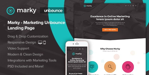 Marky -  Marketing Unbounce Landing Page - Unbounce Landing Pages Marketing