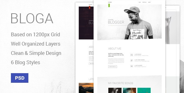 Bloga - Modern Creative Multipurpose Blog Template - Personal Photoshop