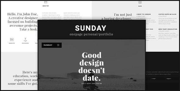 Sunday Onepage Personal/Portfolio - Personal Site Templates