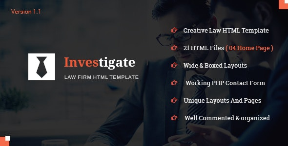 Investigate - Lawyer and Attorney HTML Template - Corporate Site Templates