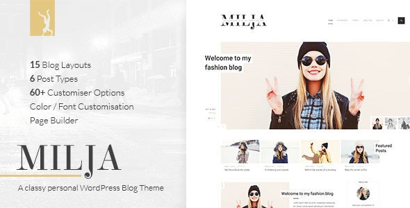 Milja - A Classy Personal WordPress Blog Theme - Personal Blog / Magazine
