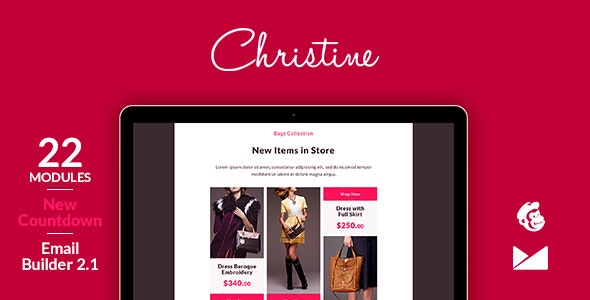 Christine Email Template + Online Emailbuilder 2.1 - Catalogs Email Templates