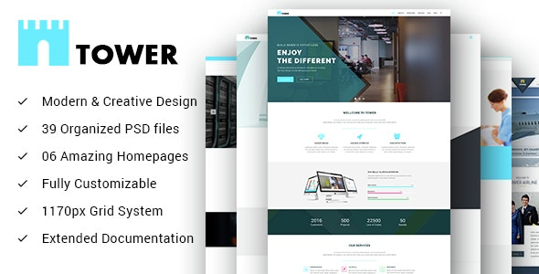 TOWER - Creative Small Business PSD Template for Startups - Business Corporate